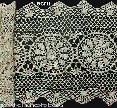 "Creative Linens 14x54"" Beige Cotton Crochet Lace Table Runner FREE S&H"
