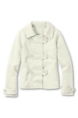 NWT Girls LANDS END Ivory Fleece Cardigan Sweater Girls SIze Medium 5-6 Large 6x