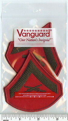 USMC Marines FEMALE Lance Corporal LCpl E3 Chevrons PATCH pr grn/red for Greens!