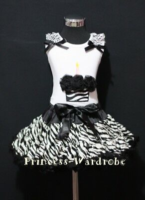 Black Zebra Pettiskirt Zebra Birthday Cupcake Top 1-8Y