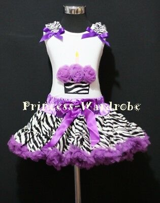 Purple Zebra Pettiskirt Zebra Birthday Cupcake Top 1-8Y