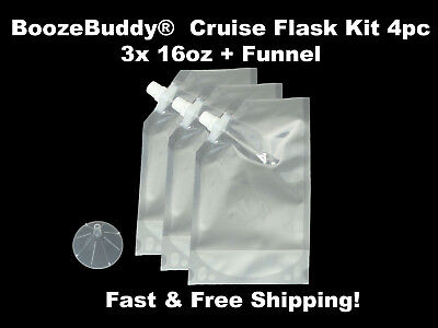 Disposable Plastic Flask Cruise Kit for runners rum liqour alcohol wine- 3x 16oz