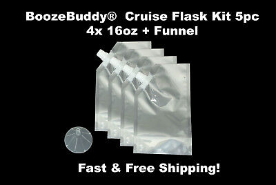 Plastic Flask Cruise Kit for runners fill w/ rum alcohol wine 4x 16oz + Funnel