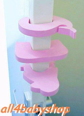 4Pcs PINK Baby Toddler Safety Proofing Door Jammers Stopper Finger Guard Foam