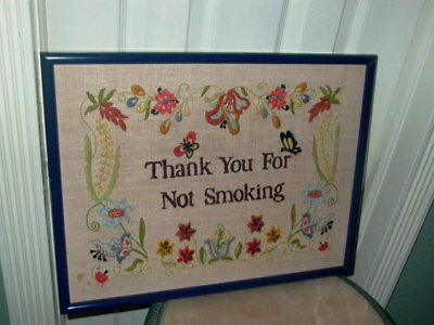 Thank You For Not Smoking Framed Needlepoint