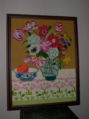Flowers Floral Vase & Fruit Bowl Framed Needlepoint
