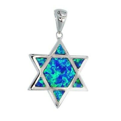 Sterling Silver Star of David Pendant w/ Inlaid Lab Opal    #opp116