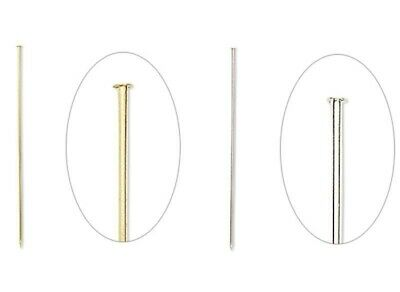 10 OR 50 Gold OR Silver Plated 3 Inches 18 Gauge Hat Stick Pins WITH Clutches