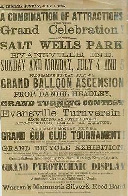 Ad Pyrotechnic Fireworks Display Bicycle Evansville1886