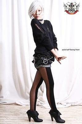 RUNWAY Two Side HALF Tight/Pantyhose SHEER+OPAQUE BLACK