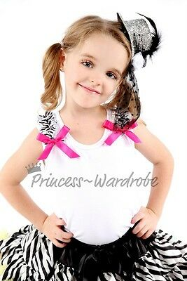 White Pettitop Hot Pink Bow Zebra For Pettiskirt NB-8Y