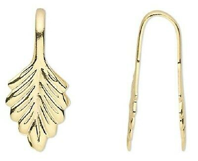 10 OR 100 Gold or Silver Plated Brass Pendant Fold Over Glue on Leaf Bails