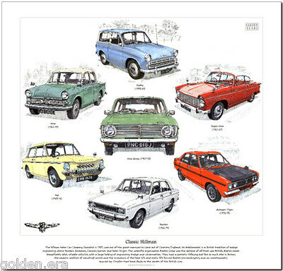 CLASSIC HILLMAN - ART PRINT Hunter Super Minx Arrow Imp