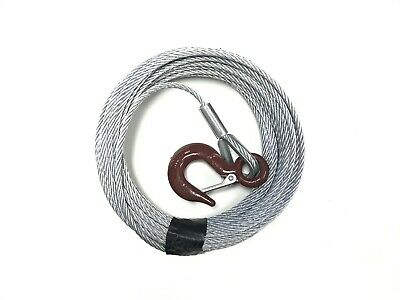 "7/32"" x 50 ft Galv. Wire Rope Winch Cable with Hook"