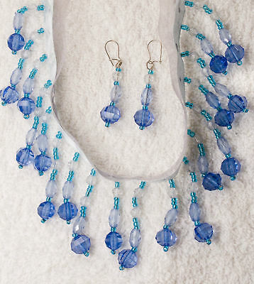 SASS NEW victorian style choker necklace earrings set BLUE beads crystals ribbon