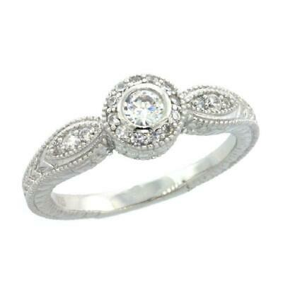 Sterling Silver Vintage Style Engagement Ring w/ Brilliant Cut CZ Stones