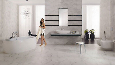 feinsteinzeug fliesen bodenfliesen wandfliesen carrara poliert 59 3 x 59 3 cm eur 35 70. Black Bedroom Furniture Sets. Home Design Ideas