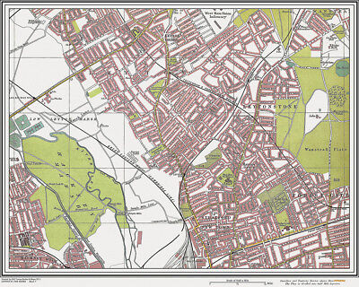 Leyton, Leytonstone Map London 1908 old / vintage  #7