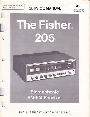 Fisher Service Manual For Model 205 Am/fm Tuner Amplifier