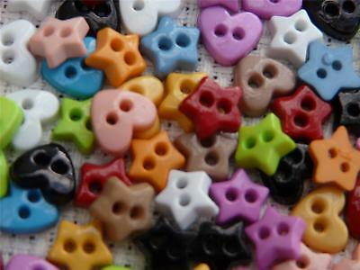 100 Assorted Mini Micro Heart & Star Buttons Tiny Craft