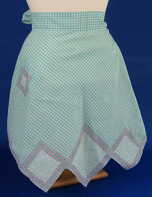 Vintage Handmade Blue Gingham Cross Stitch Half Apron