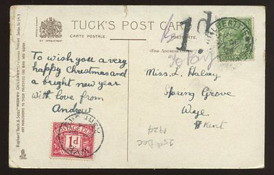 POSTAGE DUE 1924 PPC WYE KENT 1d CHRISTMAS DAY CHILDREN