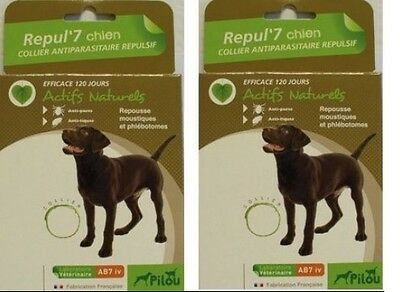 2 COLLIER ANTI TIQUES PUCES A CHIEN protection maximum