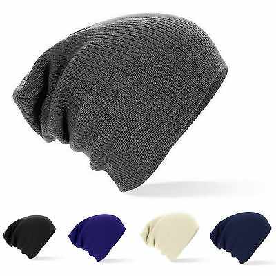 Oversized Slouch Long Beanie Hat Ribbed Knit Hat Beechfield One Size