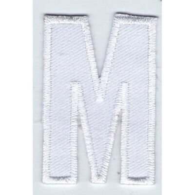 Ecusson Patche Thermocollant Patch Lettre Blanche Blanc M - Hauteur 5 Cm