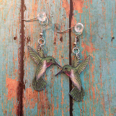Ruby Throated Hummingbird Dangle Earrings Handcrafted Plastic Made in USA