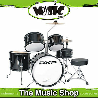 DXP Junior Drum Kit 5 Piece Kids Drumkit + Stool Black - Beginners Drum Set
