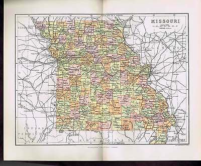 1893 Missouri Color Antique State Map  119 Years Old