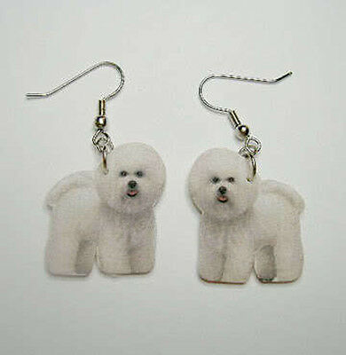 Bichon Frise Dangle Earrings Handcrafted Plastic Made in USA