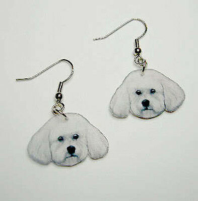 Bichon Frise Head Earrings Handcrafted Plastic Made in USA