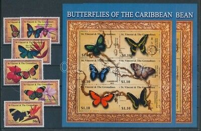 St. Vincent stamp MNH Butterflies set Insect WS89932