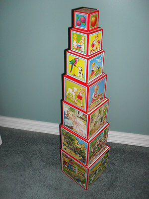 7 Vintage Look Wooden & Picture Paper STACKABLE BOXES