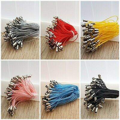100pcs Mobile Cell Phone Cord Charms Lanyard Charm with 7mm Jumprings New