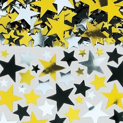Black Silver and Gold Star Confetti - Hollywood Casino Table Party Decoration