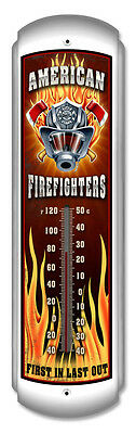 """American Firefighter First In Last Out Fireman 17"""" Metal Thermometer NEW"""