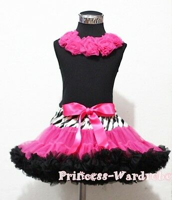 Zebra Style Pettiskirt Black Top Hot Pink Rose Set 1-8Y