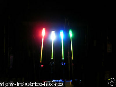 4 x ROD TIP LIGHTS for tip of rods + all NEW BATTERIES for SEA BEACHCASTER ROD