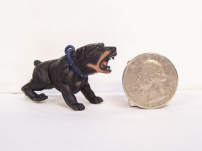 "Black Rottweiler Rott Barking Dog 2"" New Figure Figurine Hood Hounds"
