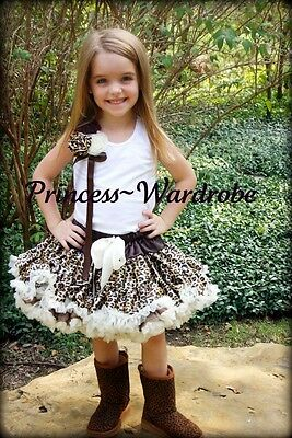 Cream Leopard Pettiskirt Rose with Bow White Top 1-8Y