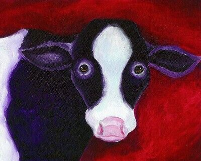 PURPLE COW 8x10 Farm Animal Pop Art PRINT of Original Oil Painting by Vern
