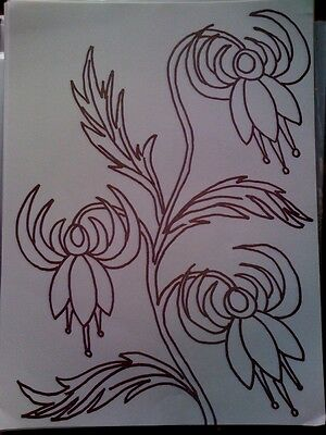 Webster Fuchsia Flower iron on embroidery transfer 4 x A4 sheets
