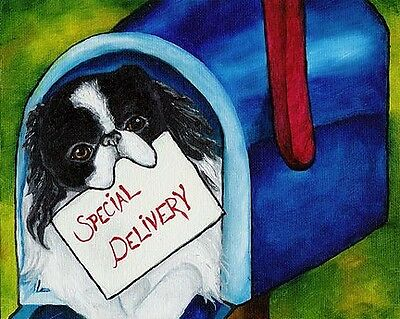 JAPANESE CHIN in Mailbox 8x10 Signed Dog Art PRINT of Original Painting by VERN