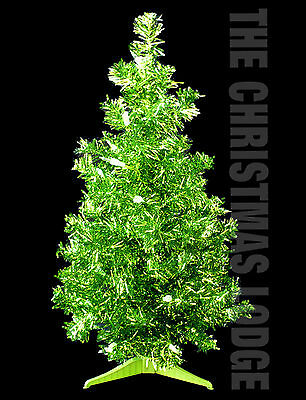 2 FT PRE-LIT ARTIFICIAL SHAMROCK GREEN TINSEL CHRISTMAS TREE / NEW IN BOX