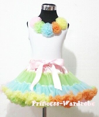 Pale Rainbows Style Pettiskirt with White Pettitop Top in Rainbow Rose Set 1-8Y