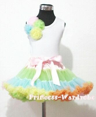 Pale Rainbows Style Pettiskirt with White Pettitop Top in Four Rosettes Set 1-8Y
