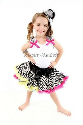 Rainbows Zebra Pettiskirt with White Pettitop Top in Ruffles and Bows Set 1-8Y